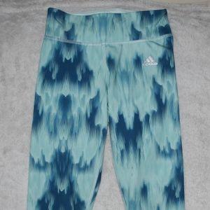 ADIDAS Woman's Athletic Leggings XS 0 Blue Tie Dye